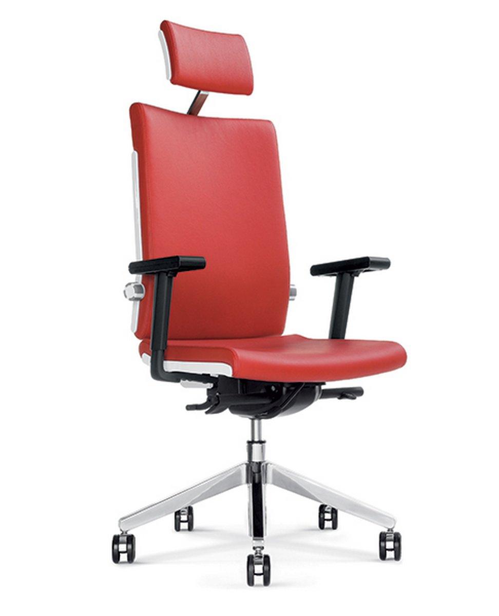 Fotel biurowy obrotowy BELITE czerwony fotel do biura z zagłówkiem