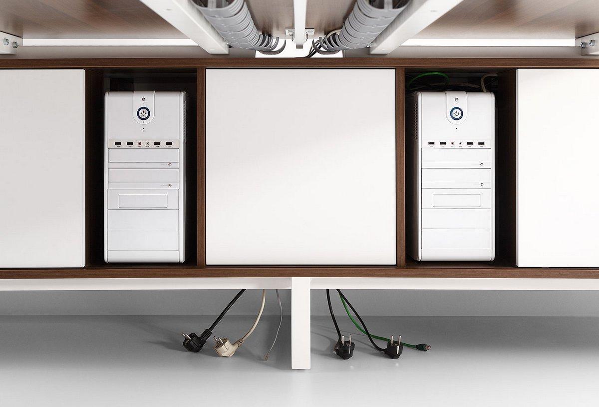 Szafka do dwóch biurek dwustronna symetryczna Pluris  wnęka na komputer