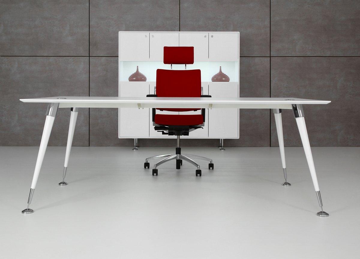 Białe ekskluzywne meble gabinetowe Astero, białe biurko gabinetowe Astero, białe ekskluzywne biurko do gabinetu Astero