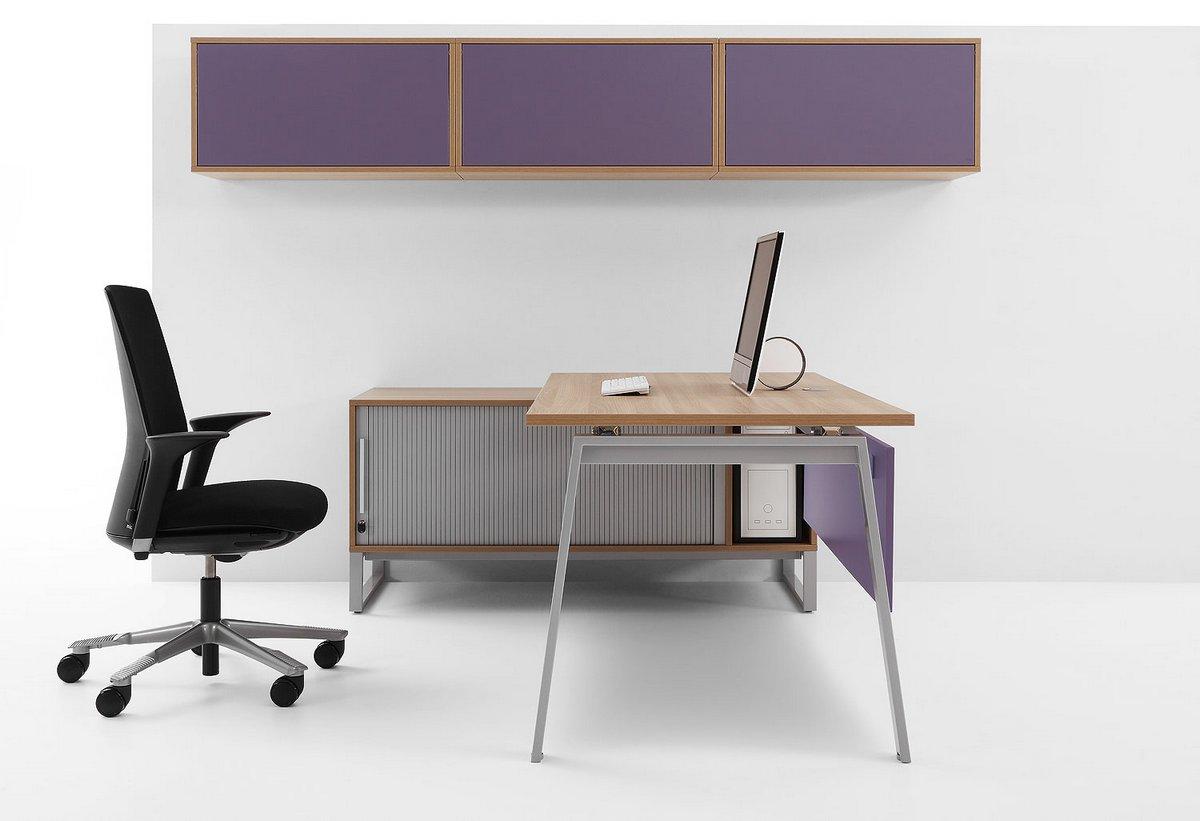 Nowoczesne biurko dla pracownika Pluris blat montowany na szafce biurowej szafka nadbiurkowa