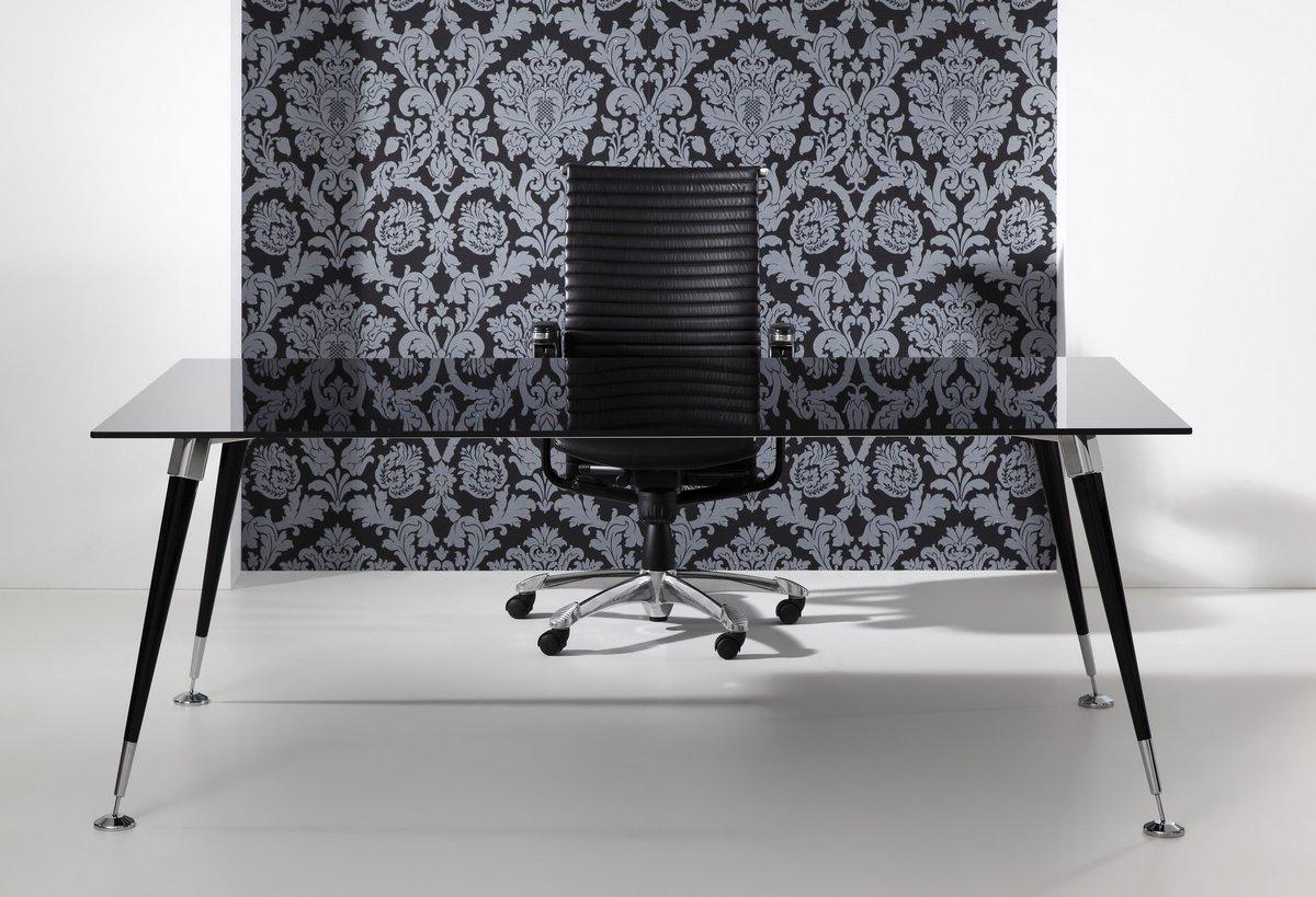 Ekskluzywne meble gabinetowe Astero, czarne biurko do gabinetu Astero