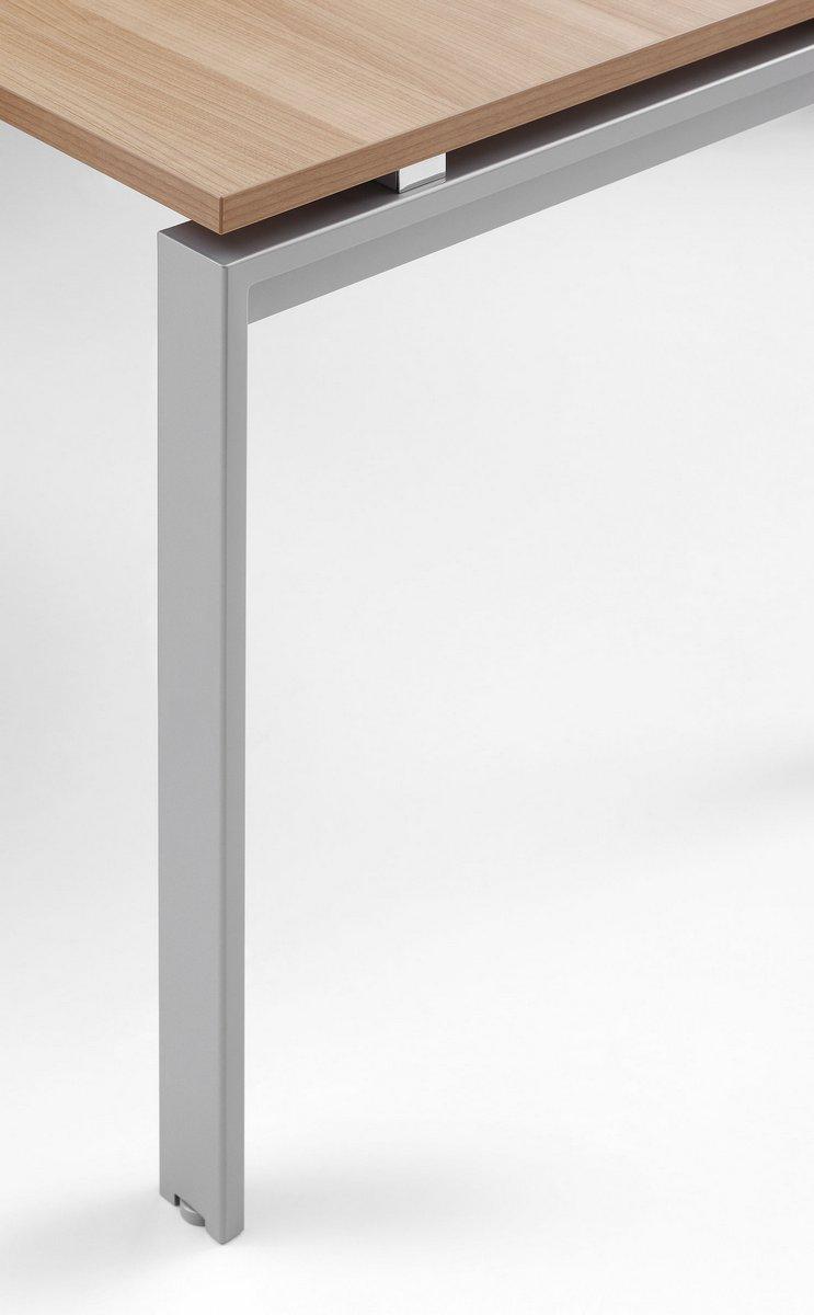 Stelaż biurka systemu Pluris w kształcie prostokąt otwarty blat biurka