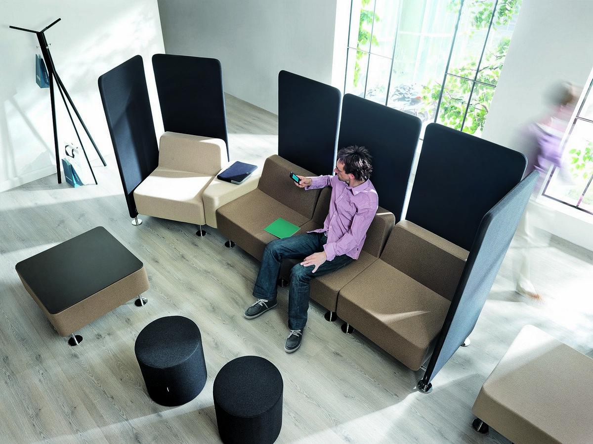 System siedzisk modułowych biurowych WALL in, siedziska biurowe WALL in, sofy do biura, sofy do poczekalni