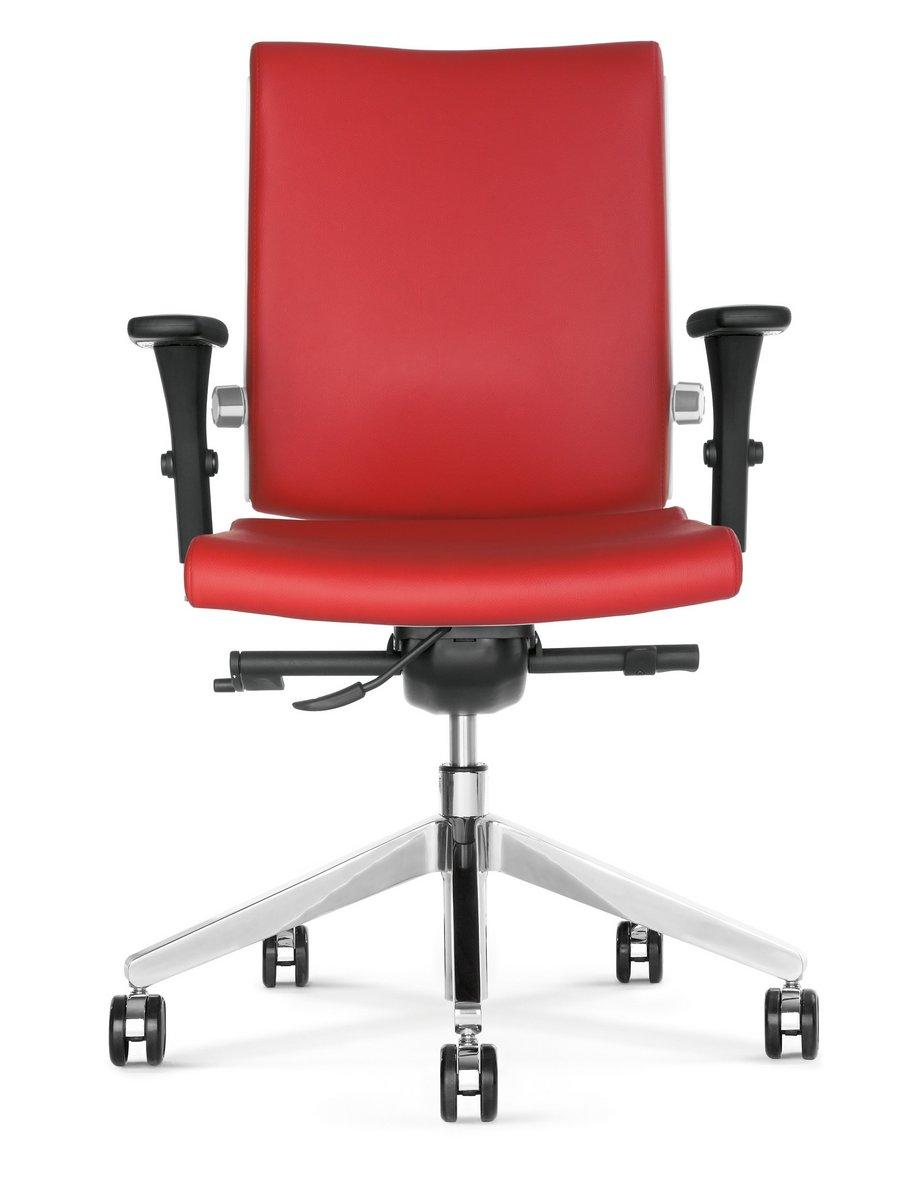 Fotel biurowy obrotowy BELITE czerwony fotel biurowy z podłokietnikiem