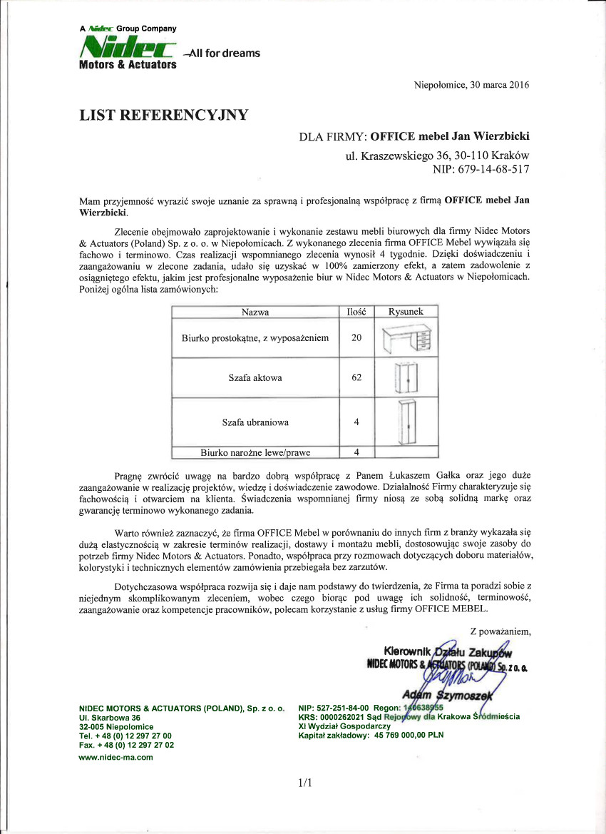 NIDEC list referencyjny