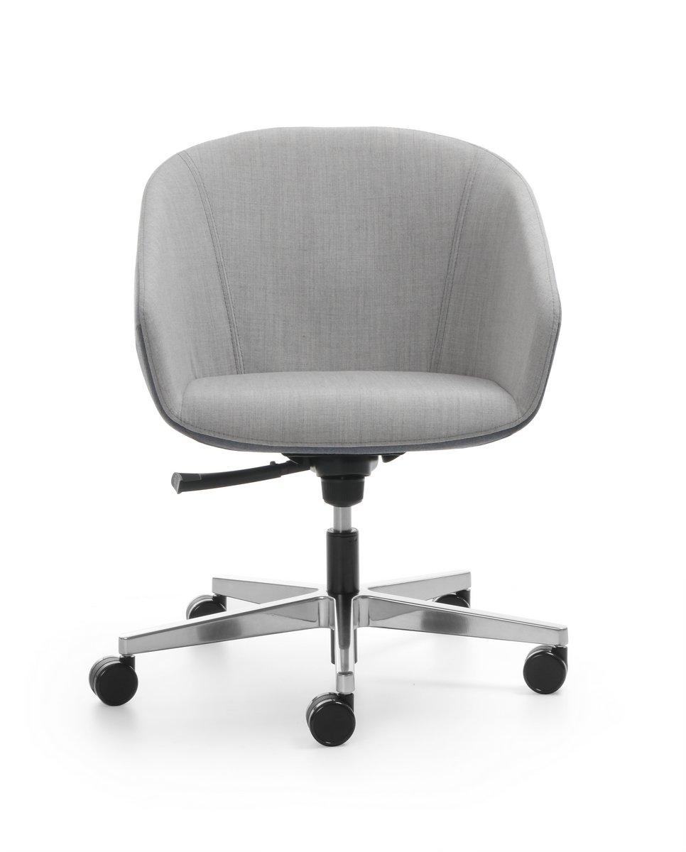 Fotel biurowy OCCO - podstawa krzyżak aluminium polerowane siedzisko tapicerowane