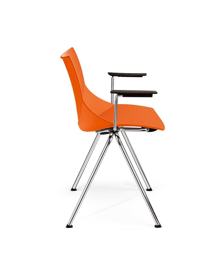 Krzesła konferencyjne SHELL, pomarańczowe plastikowe oryginalne krzesła konferencyjne Shell