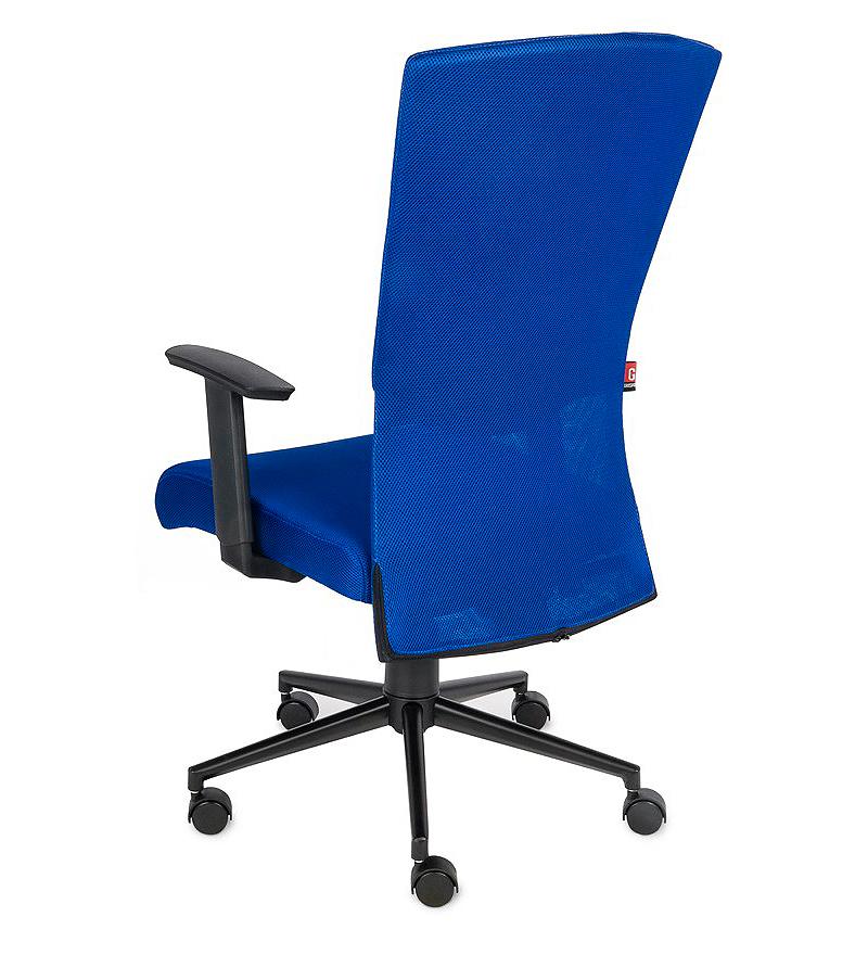 Krzesło biurowe obrotowe Basic - niebieski fotel biurowy, tył fotela