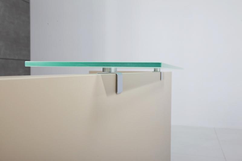 Beżowa lada recepcyjna IMPRO szklana półka