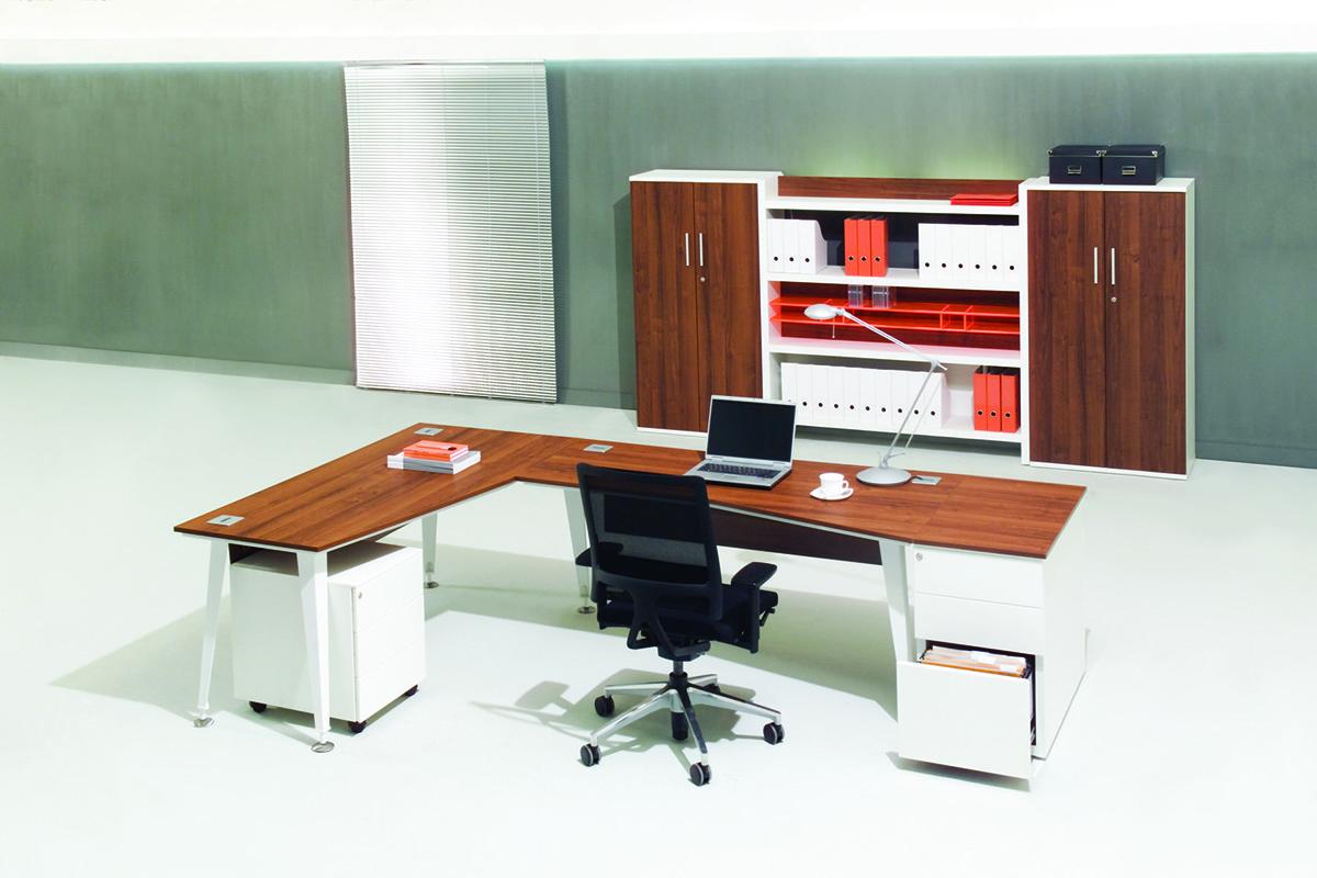 Biurko pracownicze EVO, nowoczesne meble biurowe EVO, regał na segregatory do biura