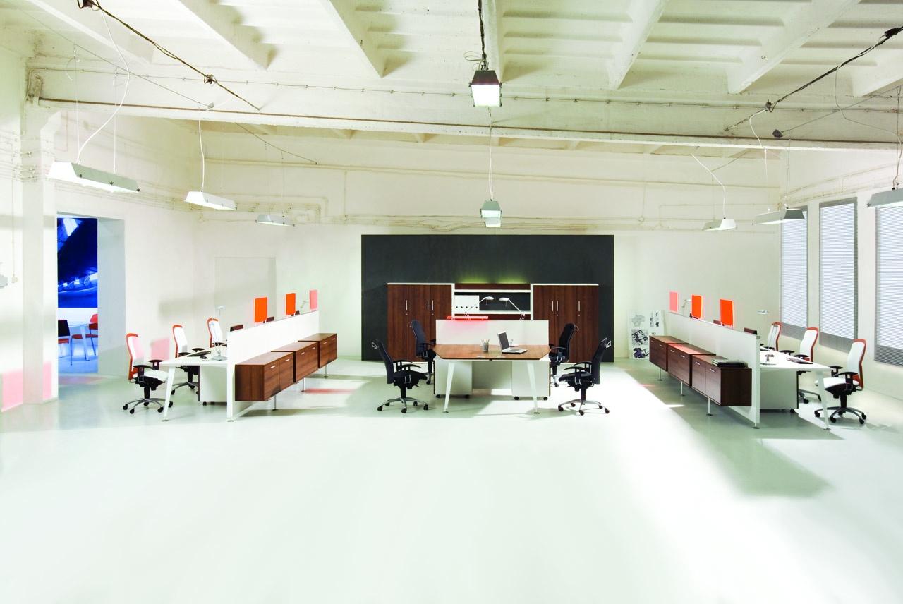 Meble pracownicze EVO, meble do biura EVO, szafki biurowe EVO, biało brązowe meble biurowe