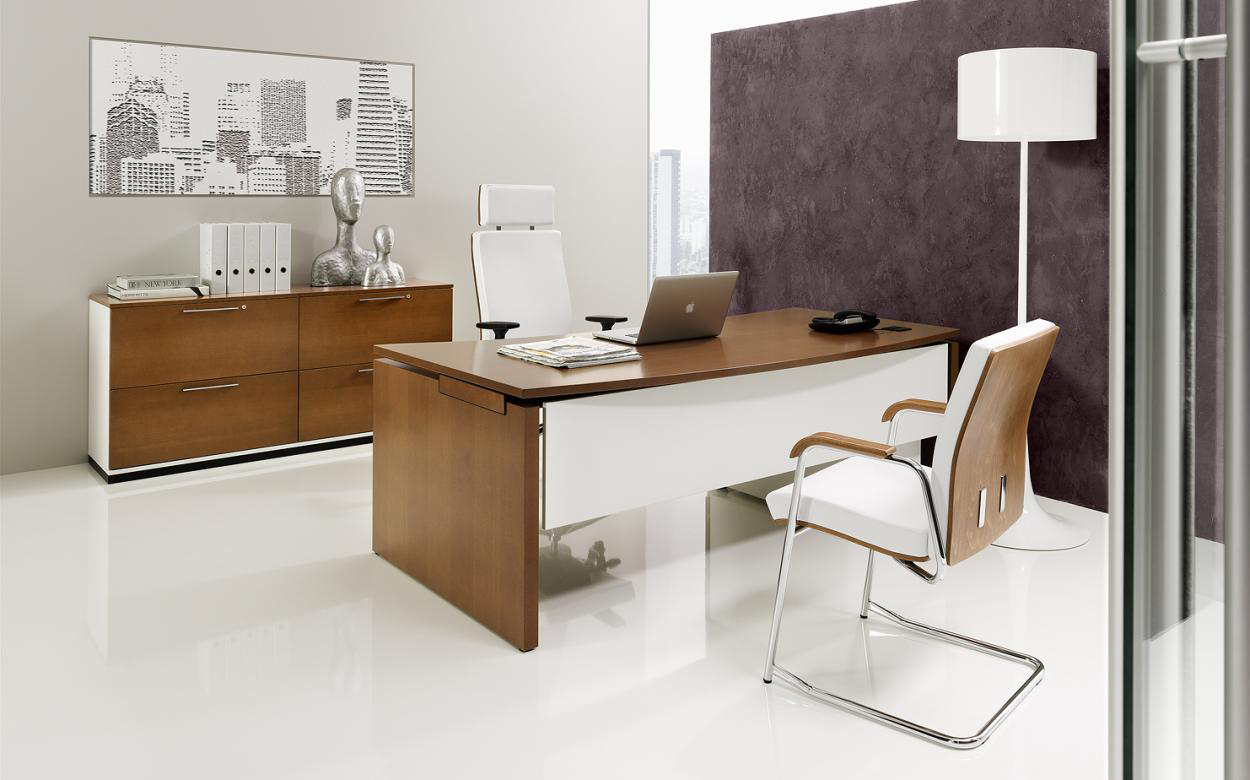 Ekskluzywne meble gabinetowe SQart MANAGERIAL biało brązowe nowoczesne meble gabinetowe