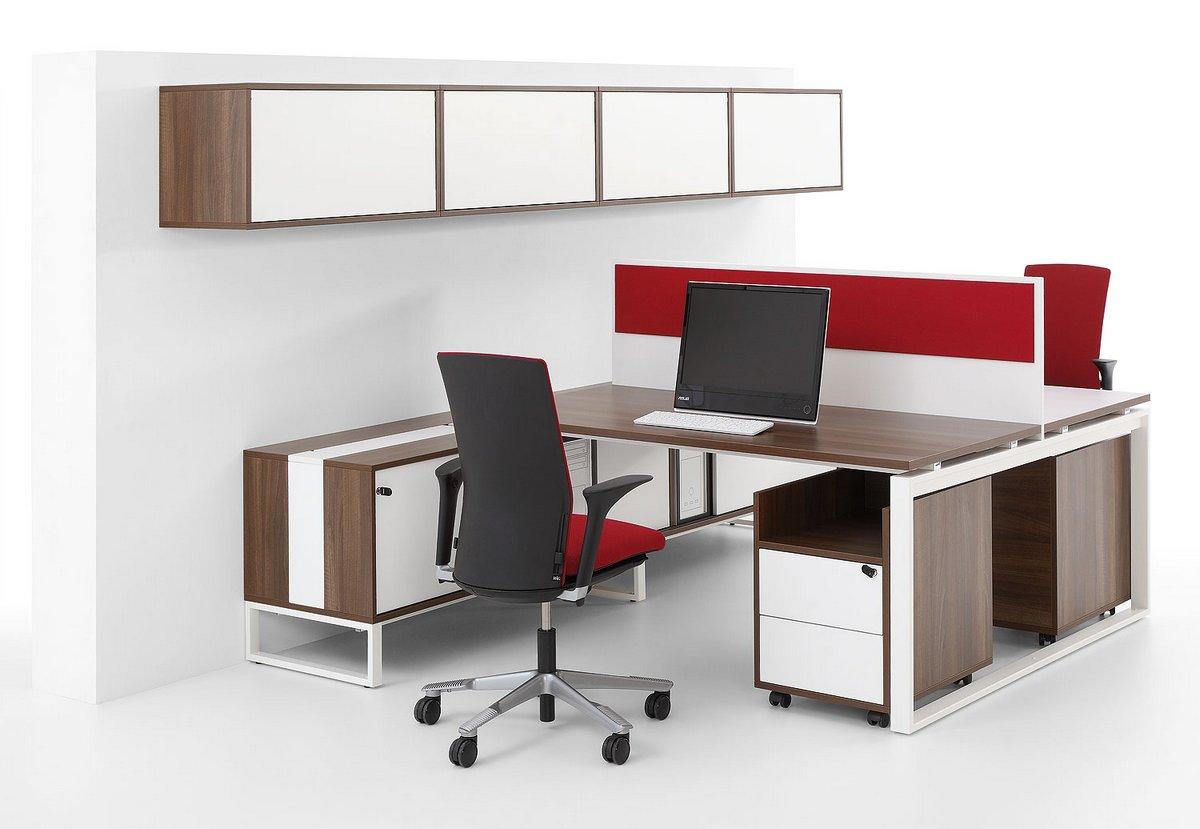 Meble biurowe Pluris biurka z blatem podwójnym z ścianka działową kontener biurkowy szafka pod biurko