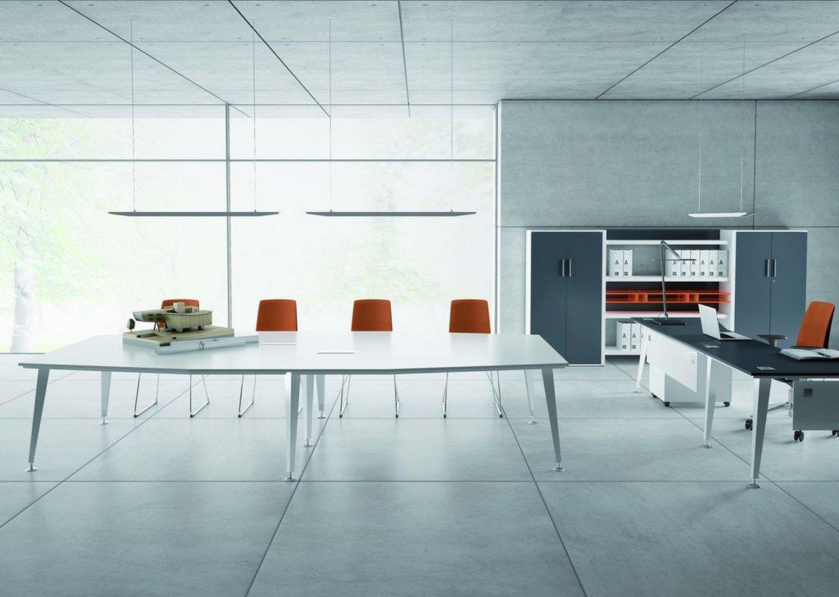 Wielostanowiskowe biurka, białe meble biurowe EVO
