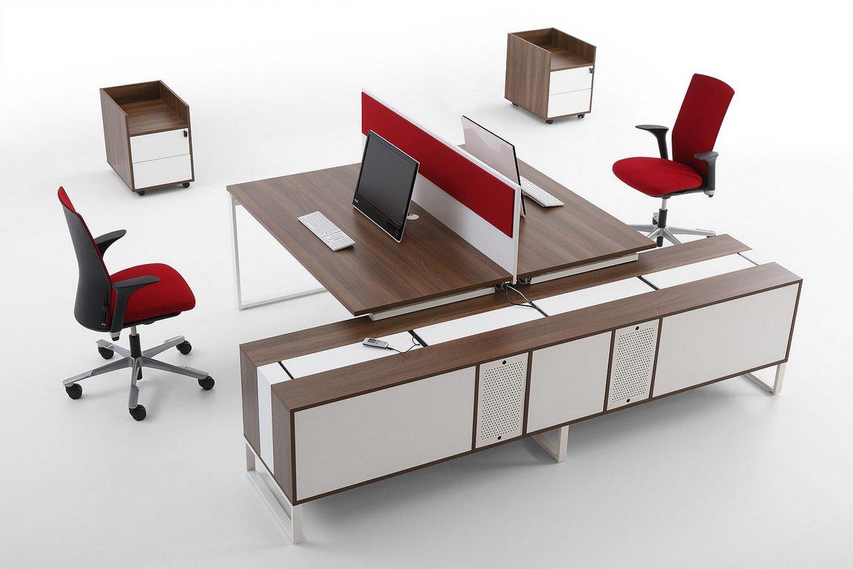 Nowoczesne meble pracownicze Pluris biurka z podwójnym stanowiskiem pracy szafki podbiurkowe kontenery biurkowe