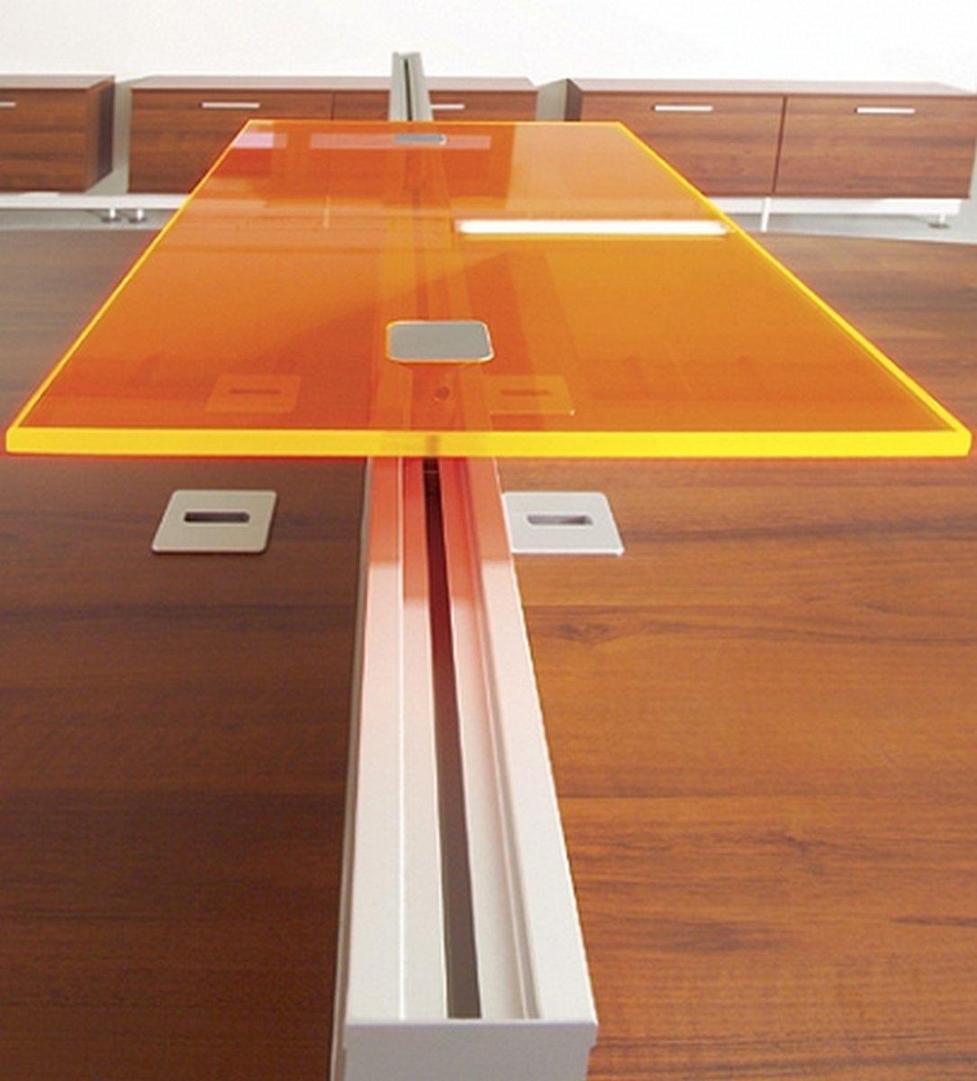 Półka z plexi do biurka na dodatkowe elementy biurowe