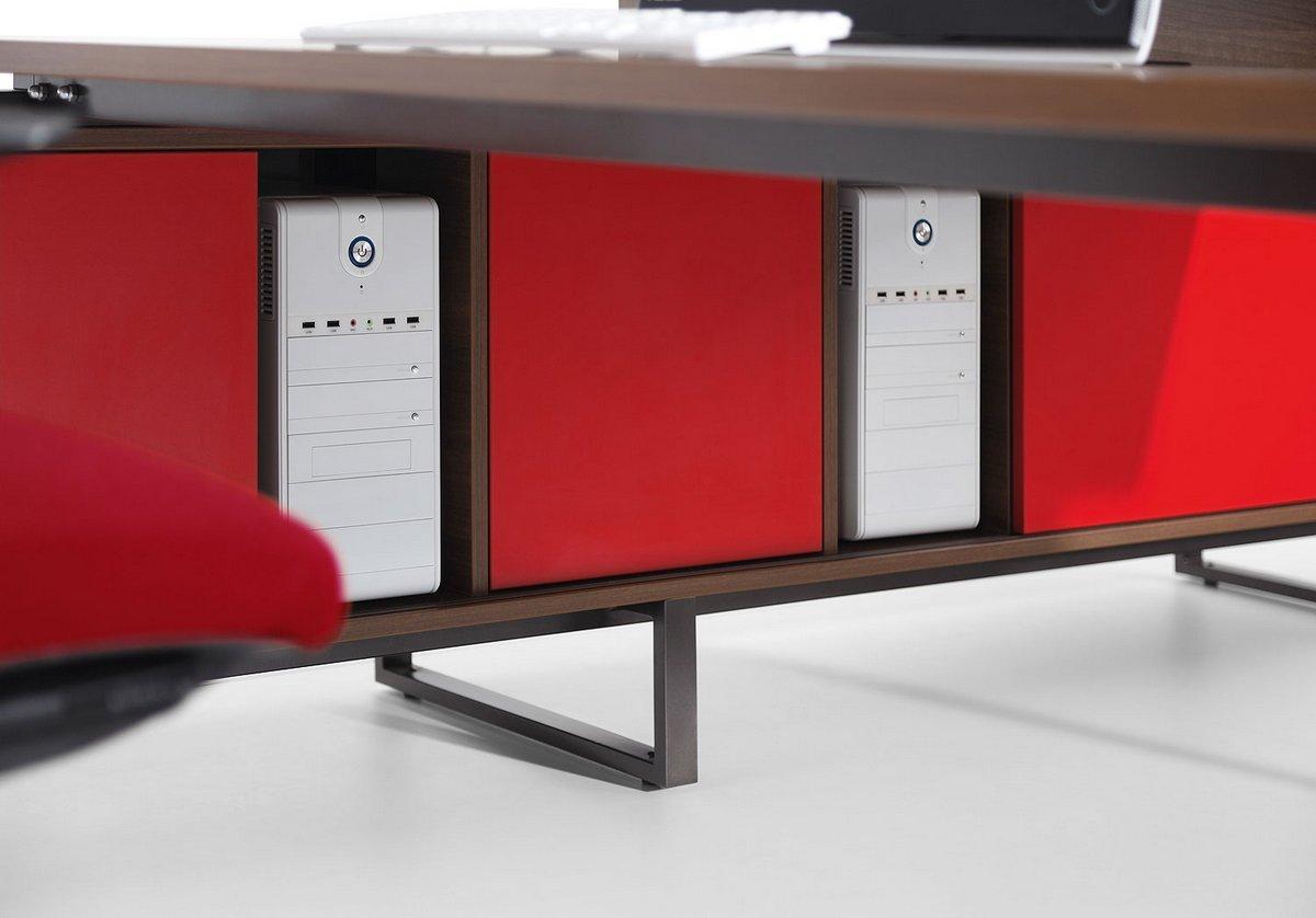 Czerwone fronty szafek podbiurkowych Pluris