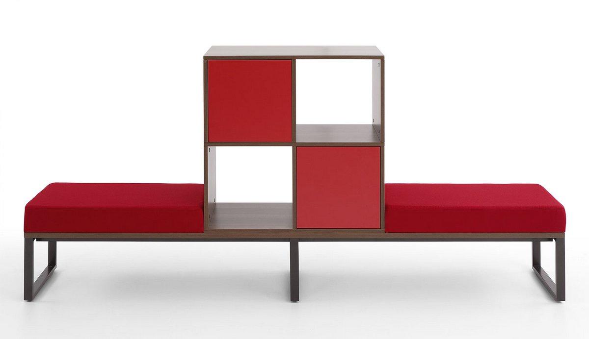 Czerwona tapicerowana podwójna ławka biurowa szafki biurowe Pluris
