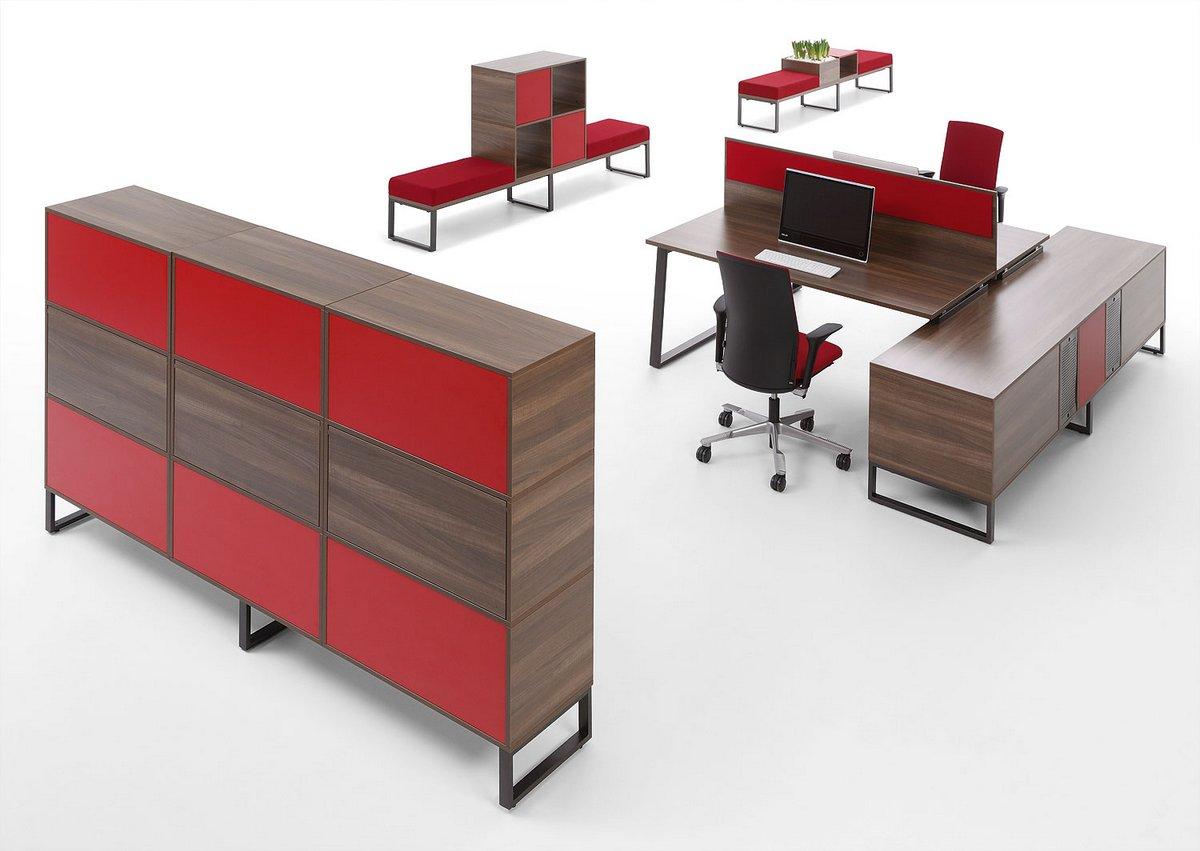 Wyposażenie biura w meble biurowe Pluris biurka pracownicze szafa wizerunkowa Pluris