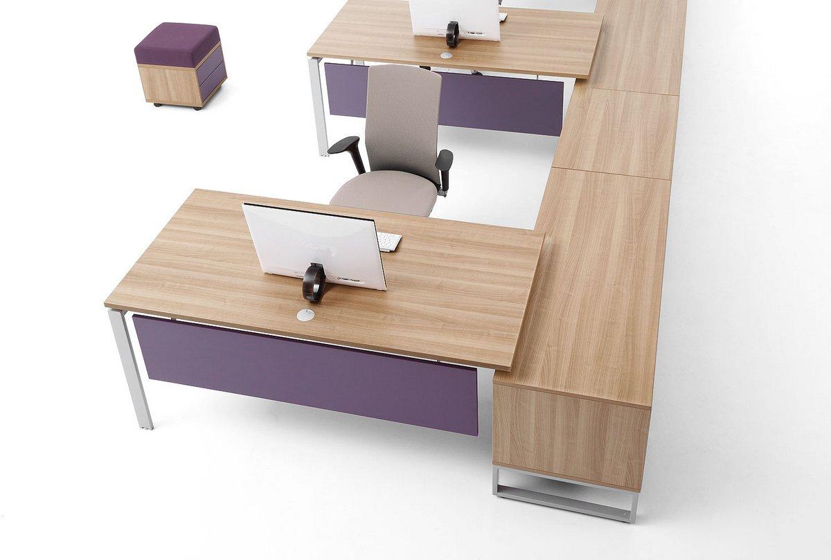 Biurka łączone z dekorem   blatów dąb rozbielany fioletowa blenda do biurka szafki podbiurkowe pufa tapicerowana