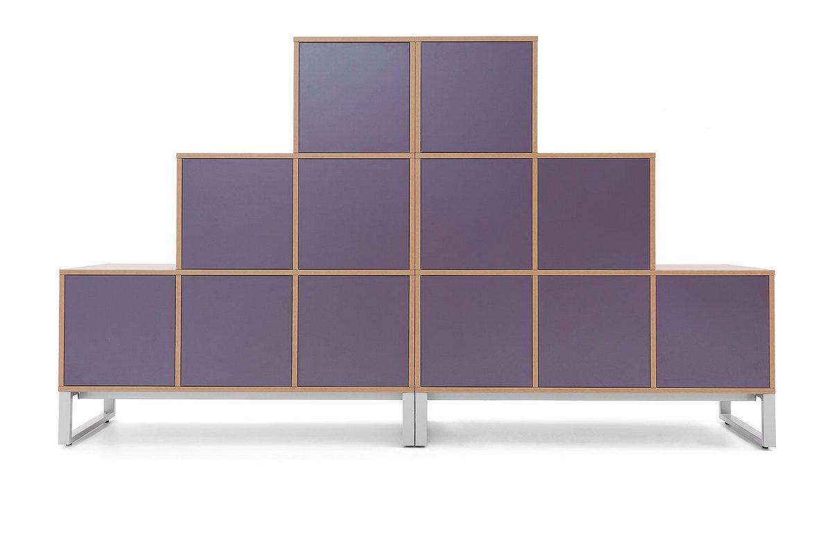 Regał biurowy szafa wizerunkowa Pluris fioletowy front szafy