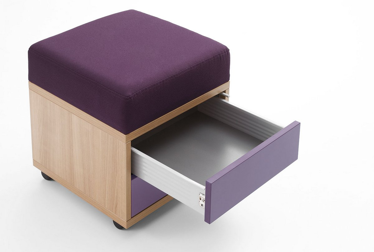 Pufo kontener biurowy Pluris z szufladami tapicerowany