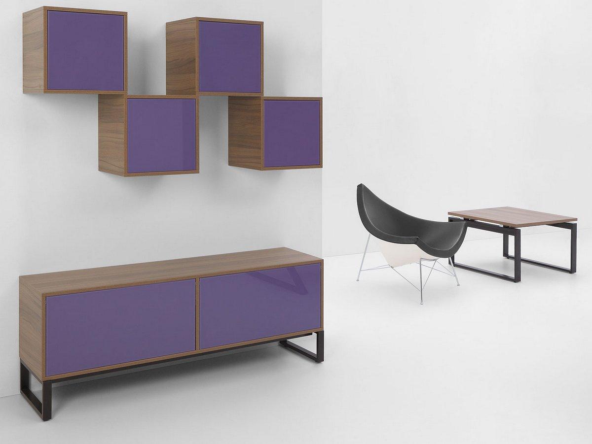 Szafka biurowa stojąca szafki biurowe wiszące stolik biurowy Pluris fioletowe fronty szafek