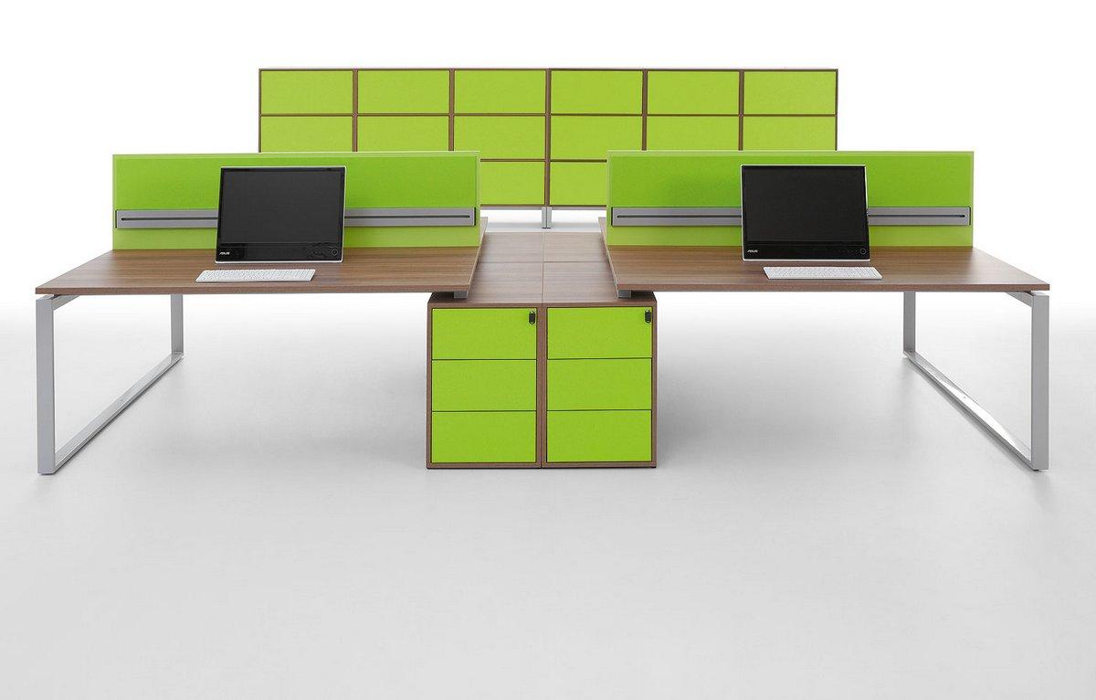 Meble biurowe Pluris biurka z blatem podwójnym podbiurkowy kontener   regał na dokumenty