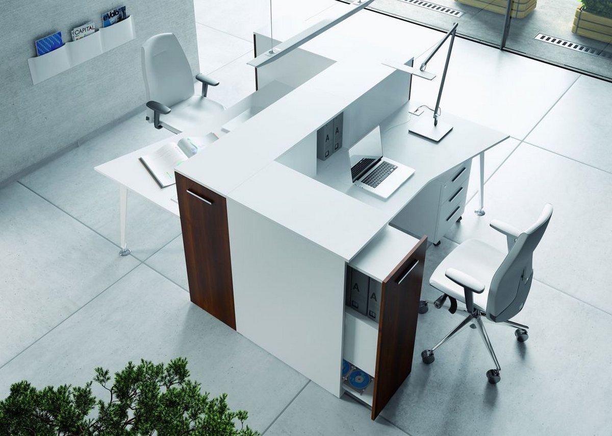 Białe meble biurowe EVO, podwójne biurko, szafki biurowe przy biurku