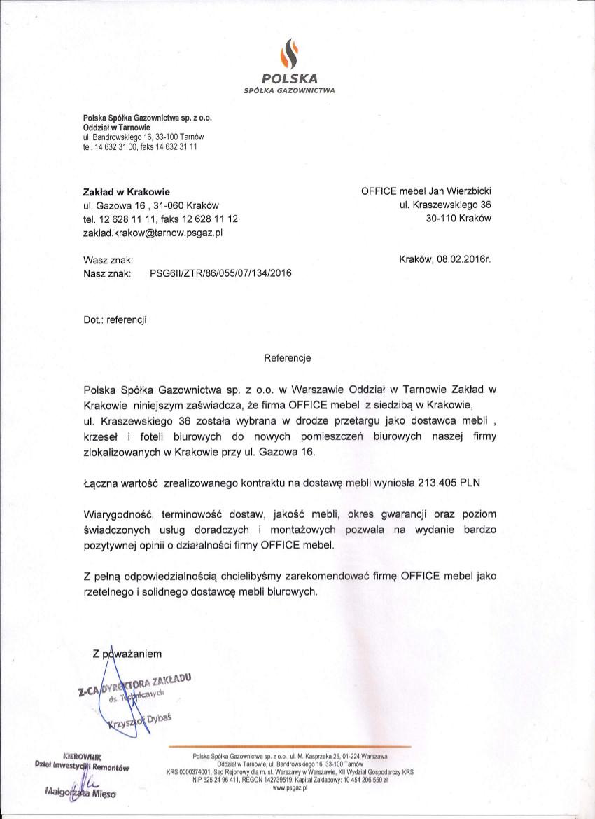 Referencje Polska Spółka Gazownictwa