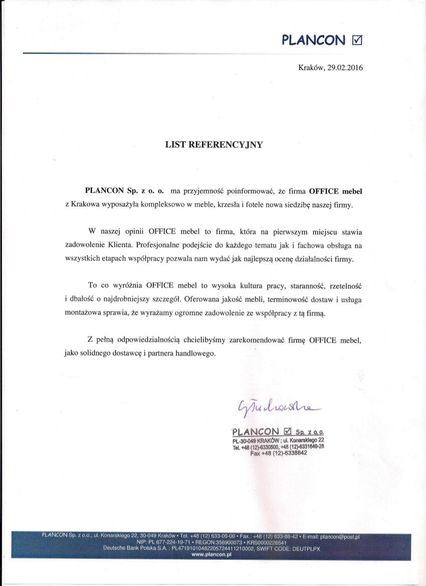 list referencyjny Plancon